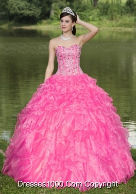 Clearance Hot Pink Quinceanera Dresses With Sweetheart Beaded Ruffles Layered