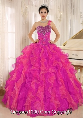 Custom Made One Shoulder Beaded Decorate Ruffles Quinceanera Gowns In Spring