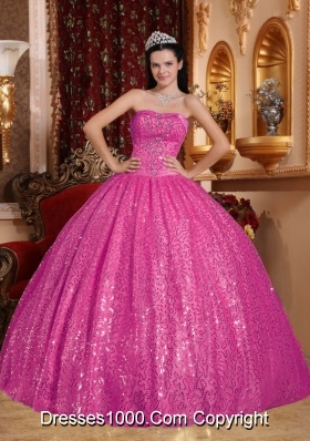 Elegant Hot Pink Sweetheart Quinceanera Dresses with  Beading