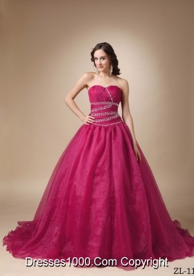 Princess Sweetheart Beading Quinceanea Dresses with Court Train