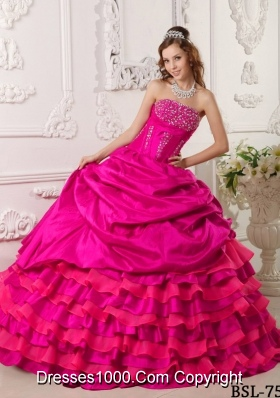 Puffy Strapless Beading 2014 Quinceanera Dresses in Hot Pink