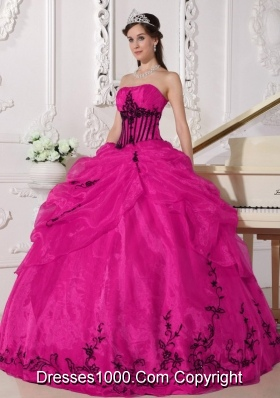 Puffy Strapless Pretty Quinceanera Gowns with Appliques