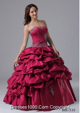 2013 Ball Gown Pick-ups Quinceanera Dress With Beading and Ruche