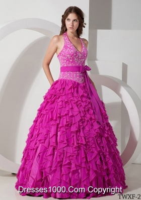 Ball Gown Halter Quinceanera Dress with Chiffon Embroidery