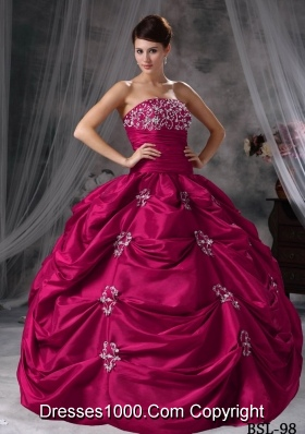 Ball Gown Strapless Quinceanera Dress with Taffeta Appliques