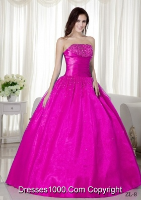 Ball Gown Strapless Quinceanera Dress  with Taffeta  Beading