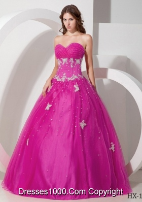 Ball Gown Sweetheart Quinceanera Dress with Tulle Appliques Beading