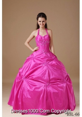 Chic Ball Gown Halter Quinceanera Dress with Taffeta Beading