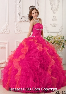 Coral Red Ball Gown Sweetheart Quinceanera Dress with  Organza Appliques Beading