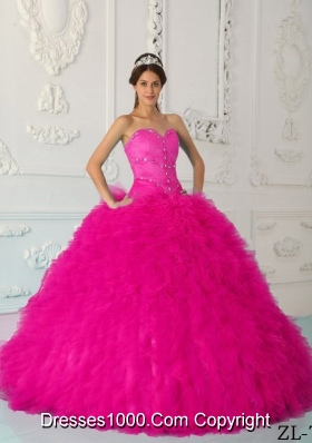Coral Red Ball Gown Sweetheart Quinceanera Dress with Organza Beading