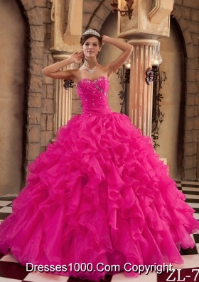 Coral Red Ball Gown Sweetheart Quinceanera Dress with Ruffles Organza