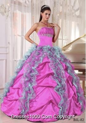 Dress with  Organza Beading Ruffles