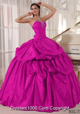 Fuchisia Ball Gown Sweetheart Quinceanera Dress with  Taffeta Beading