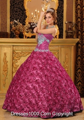 Fuchsia Ball Gown Sweetheart Quinceanera Dress with Rolling Flowers Appliques