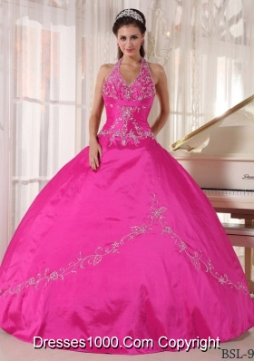 Hot Pink Ball Gown Halter Quinceanera Dress with  Taffeta Appliques