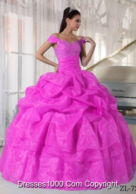 Hot Pink Ball Gown Off The Shoulder Quinceanera Dress with  Taffeta Organza Beading