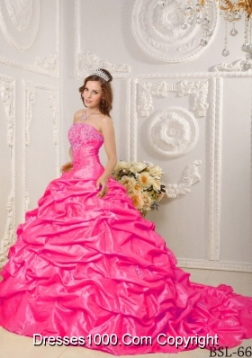 Hot Pink Ball Gown Strapless Court Train Quinceanera Dress with Taffeta Appliques Beading