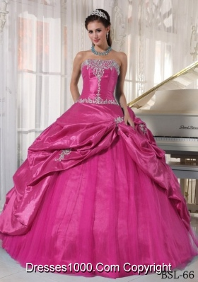 Hot Pink Ball Gown Strapless Quinceanera Dress with  Taffeta Appliques