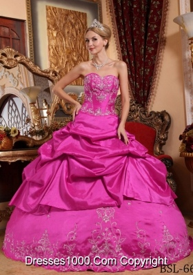 Hot Pink Ball Gown Sweetheart Quinceanera Dress with  Taffeta Embroidery Beading