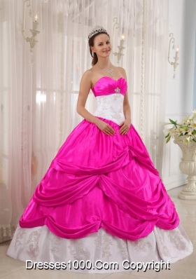 Hot Pnk and White Ball Gown Sweetheart Quinceanera Dress with Taffeta Appliques