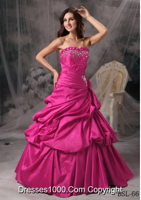 Princess Strapless Quinceanera Dress with Taffeta Beading