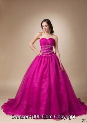Princess Sweetheart Chapel Train Quinceanea Dress with Organza Beading