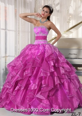 Strapless Ball Gown Quinceanera Dress with  Organza Appliques