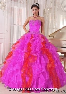 Tow Toned Pink Ball Gown Sweetheart Quinceanera Dress with Organza Sequins
