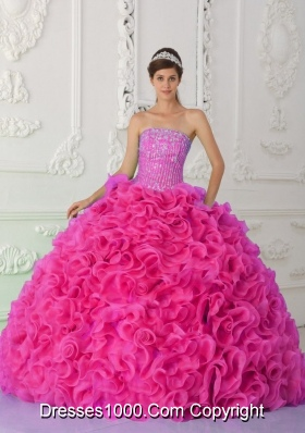 Ball Gown Strapless Organza Hot Pink Quinceanera Dress with Beading and Ruffles