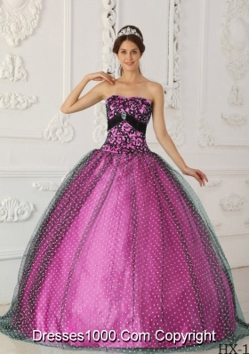 Black and Fuchsia Ball Gown Strapless Quinceanera Dress with   Appliques