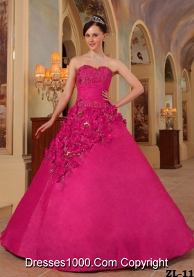 Coral Red Ball Gown Sweetheart Quinceanera Dress with Organza Handle Flowers