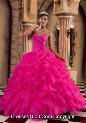 Coral Red Ball Gown Sweetheart Quinceanera Dress with Organza Ruffles