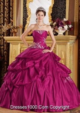 Fuchsia Ball Gown Strapless Quinceanera Dress with Taffeta Appliques