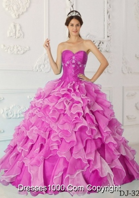 Fuchsia Princess Sweetheart Quinceanera Dress with  Taffeta  Beading