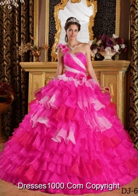 Hot Pink Ball Gown One Shoulder Quinceanera Dress with  Organza Ruffles Beading
