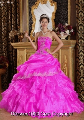 Hot Pink Ball Gown Strapless Quinceanera Dress  with Organza