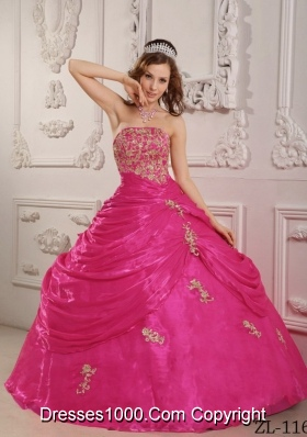 Hot Pink Ball Gown Strapless Quinceanera Dress with  Organza Appliques