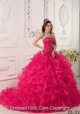 Hot Pink Ball Gown Strapless  Quinceanera Dress with Organza Ruffles Embroidery