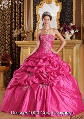 Hot Pink Ball Gown Strapless Quinceanera Dress with Pick-ups Taffeta