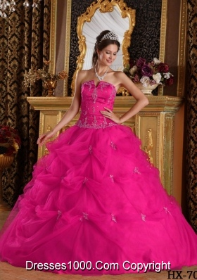 Hot Pink Ball Gown Strapless Quinceanera Dress with Pick-ups Tulle