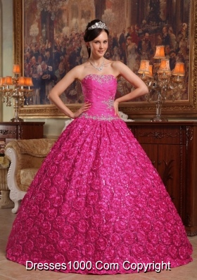Hot Pink Ball Gown Strapless Quinceanera Dress with Roling Flowers Appliques