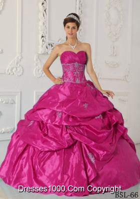 Hot Pink Ball Gown Sweetheart Quinceanera Dress with Taffeta Appliques
