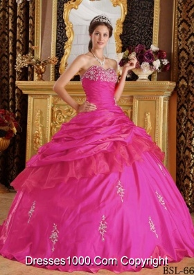 Hot Pink Ball Gown Sweetheart Quinceanera Dress with Taffeta Beading