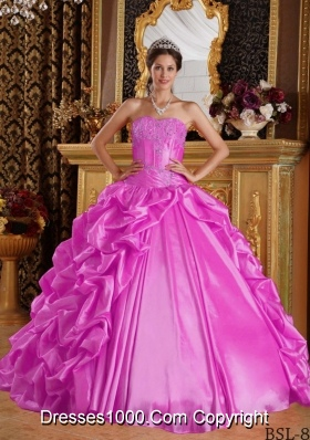 Hot Pink Ball Gown Sweetheart Quinceanera Dress with  Taffeta Emboridery Beading