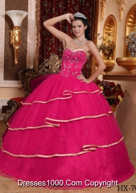 Hot Pink Ball Gown Sweetheart Quinceanera Dress with Tulle Beading