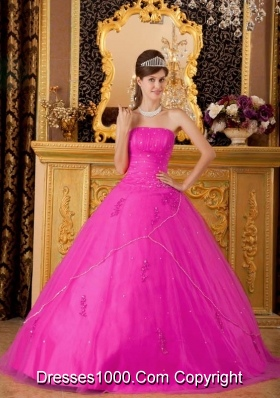 Hot Pink Princess Strapless Quinceanera Dress  with Tulle Appliques