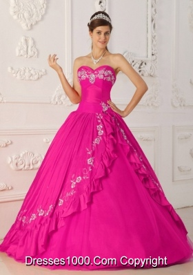 Hot Pink  Princess Sweetheart Quinceanera Dress with  Embroidery Beading