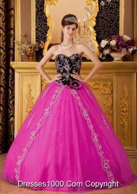 Hot Pink Princess Sweetheart Quinceanera Dress with Tulle Beading