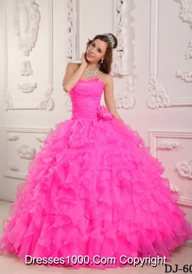 Romantic Ball Gown Sweetheart Quinceanera Dress  with Organza Beading