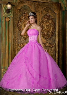 Rose Pink Ball Gown Strapless Quinceanera Dress  with  Appliques Organza